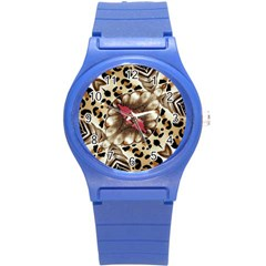 Animal Tissue And Flowers Round Plastic Sport Watch (s) by Amaryn4rt