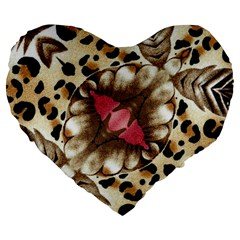 Animal Tissue And Flowers Large 19  Premium Flano Heart Shape Cushions by Amaryn4rt