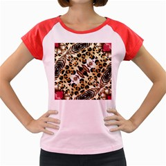 Background Fabric Animal Motifs And Flowers Women s Cap Sleeve T Shirt by Amaryn4rt