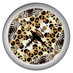 Background Fabric Animal Motifs And Flowers Wall Clocks (silver)  by Amaryn4rt