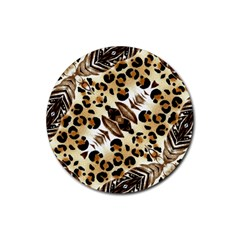 Background Fabric Animal Motifs And Flowers Rubber Round Coaster (4 Pack)  by Amaryn4rt