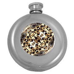 Background Fabric Animal Motifs And Flowers Round Hip Flask (5 Oz) by Amaryn4rt