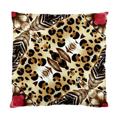 Background Fabric Animal Motifs And Flowers Standard Cushion Case (two Sides) by Amaryn4rt