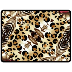 Background Fabric Animal Motifs And Flowers Fleece Blanket (large)  by Amaryn4rt