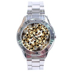 Background Fabric Animal Motifs And Flowers Stainless Steel Analogue Watch by Amaryn4rt