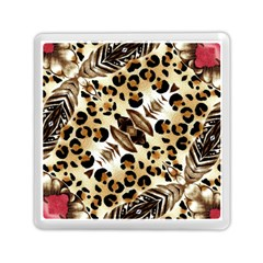 Background Fabric Animal Motifs And Flowers Memory Card Reader (square)  by Amaryn4rt