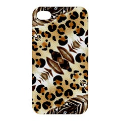 Background Fabric Animal Motifs And Flowers Apple Iphone 4/4s Hardshell Case by Amaryn4rt