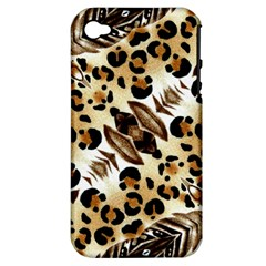 Background Fabric Animal Motifs And Flowers Apple Iphone 4/4s Hardshell Case (pc+silicone) by Amaryn4rt