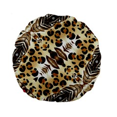 Background Fabric Animal Motifs And Flowers Standard 15  Premium Flano Round Cushions by Amaryn4rt