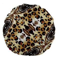 Background Fabric Animal Motifs And Flowers Large 18  Premium Flano Round Cushions by Amaryn4rt