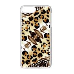 Background Fabric Animal Motifs And Flowers Apple Iphone 7 Plus White Seamless Case by Amaryn4rt