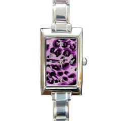 Background Fabric Animal Motifs Lilac Rectangle Italian Charm Watch by Amaryn4rt