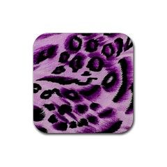 Background Fabric Animal Motifs Lilac Rubber Square Coaster (4 Pack)  by Amaryn4rt