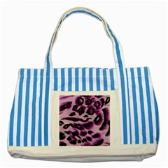 Background Fabric Animal Motifs Lilac Striped Blue Tote Bag by Amaryn4rt