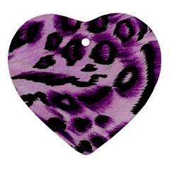 Background Fabric Animal Motifs Lilac Heart Ornament (two Sides)