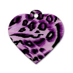 Background Fabric Animal Motifs Lilac Dog Tag Heart (two Sides) by Amaryn4rt