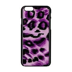 Background Fabric Animal Motifs Lilac Apple Iphone 6/6s Black Enamel Case by Amaryn4rt