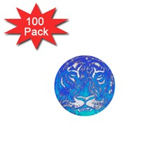 Background Fabric With Tiger Head Pattern 1  Mini Buttons (100 Pack)  by Amaryn4rt