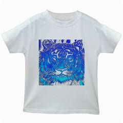 Background Fabric With Tiger Head Pattern Kids White T Shirts by Amaryn4rt