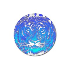 Background Fabric With Tiger Head Pattern Magnet 3  (round) by Amaryn4rt