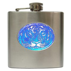 Background Fabric With Tiger Head Pattern Hip Flask (6 Oz) by Amaryn4rt