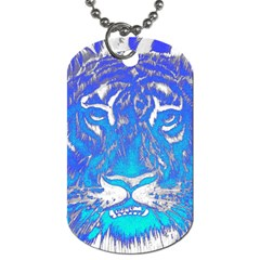 Background Fabric With Tiger Head Pattern Dog Tag (two Sides) by Amaryn4rt