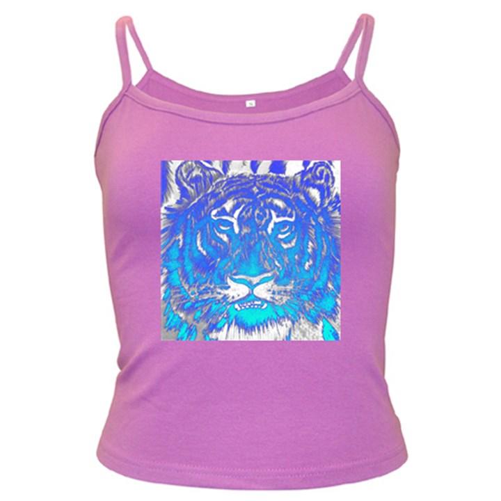 Background Fabric With Tiger Head Pattern Dark Spaghetti Tank