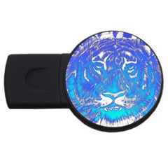 Background Fabric With Tiger Head Pattern Usb Flash Drive Round (4 Gb) by Amaryn4rt