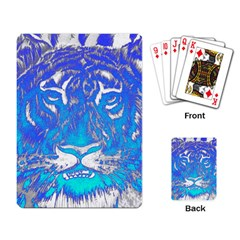 Background Fabric With Tiger Head Pattern Playing Card by Amaryn4rt