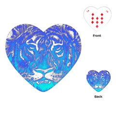 Background Fabric With Tiger Head Pattern Playing Cards (heart)  by Amaryn4rt
