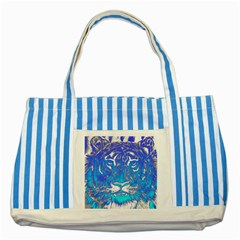 Background Fabric With Tiger Head Pattern Striped Blue Tote Bag by Amaryn4rt