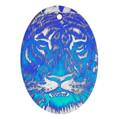Background Fabric With Tiger Head Pattern Oval Ornament (two Sides) by Amaryn4rt