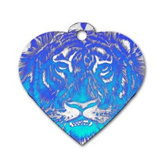 Background Fabric With Tiger Head Pattern Dog Tag Heart (two Sides) by Amaryn4rt