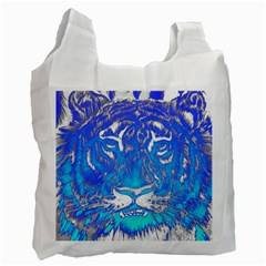 Background Fabric With Tiger Head Pattern Recycle Bag (one Side) by Amaryn4rt