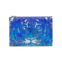 Background Fabric With Tiger Head Pattern Cosmetic Bag (medium)  by Amaryn4rt