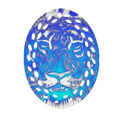 Background Fabric With Tiger Head Pattern Ornament (oval Filigree) by Amaryn4rt