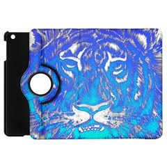 Background Fabric With Tiger Head Pattern Apple Ipad Mini Flip 360 Case by Amaryn4rt
