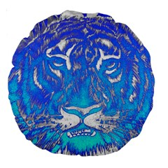 Background Fabric With Tiger Head Pattern Large 18  Premium Round Cushions by Amaryn4rt