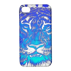 Background Fabric With Tiger Head Pattern Apple Iphone 4/4s Hardshell Case With Stand by Amaryn4rt