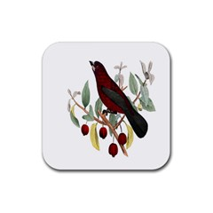 Bird On Branch Illustration Rubber Square Coaster (4 Pack)  by Amaryn4rt