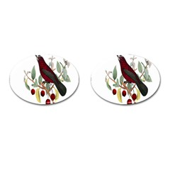 Bird On Branch Illustration Cufflinks (oval) by Amaryn4rt