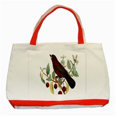 Bird On Branch Illustration Classic Tote Bag (red) by Amaryn4rt