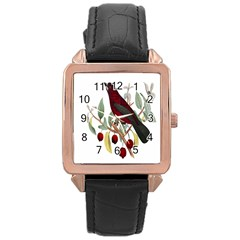 Bird On Branch Illustration Rose Gold Leather Watch  by Amaryn4rt
