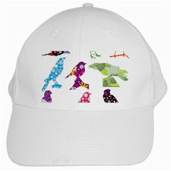 Birds Colorful Floral Funky White Cap by Amaryn4rt