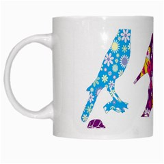 Birds Colorful Floral Funky White Mugs by Amaryn4rt