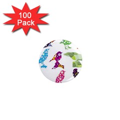 Birds Colorful Floral Funky 1  Mini Magnets (100 Pack)  by Amaryn4rt