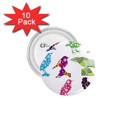 Birds Colorful Floral Funky 1 75  Buttons (10 Pack) by Amaryn4rt