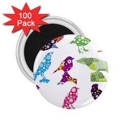 Birds Colorful Floral Funky 2 25  Magnets (100 Pack)  by Amaryn4rt