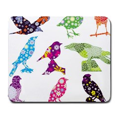 Birds Colorful Floral Funky Large Mousepads by Amaryn4rt