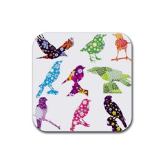 Birds Colorful Floral Funky Rubber Square Coaster (4 Pack)  by Amaryn4rt